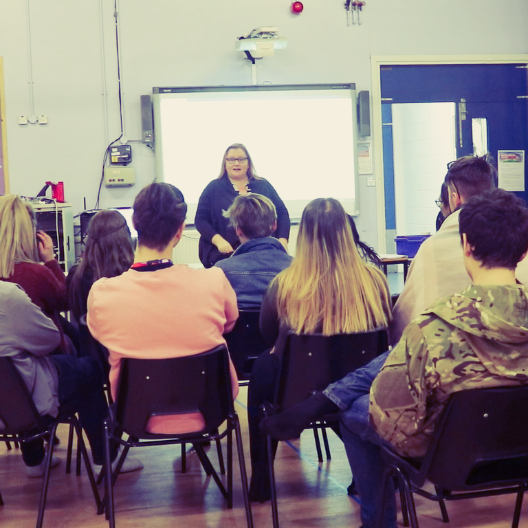 Ruth Carney sat with students from Stoke-On-Trent College talking about her experience